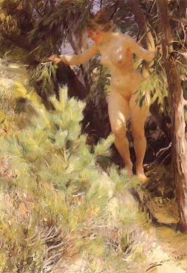 ... had simply stumbled upon a woman walking around naked through the woods: