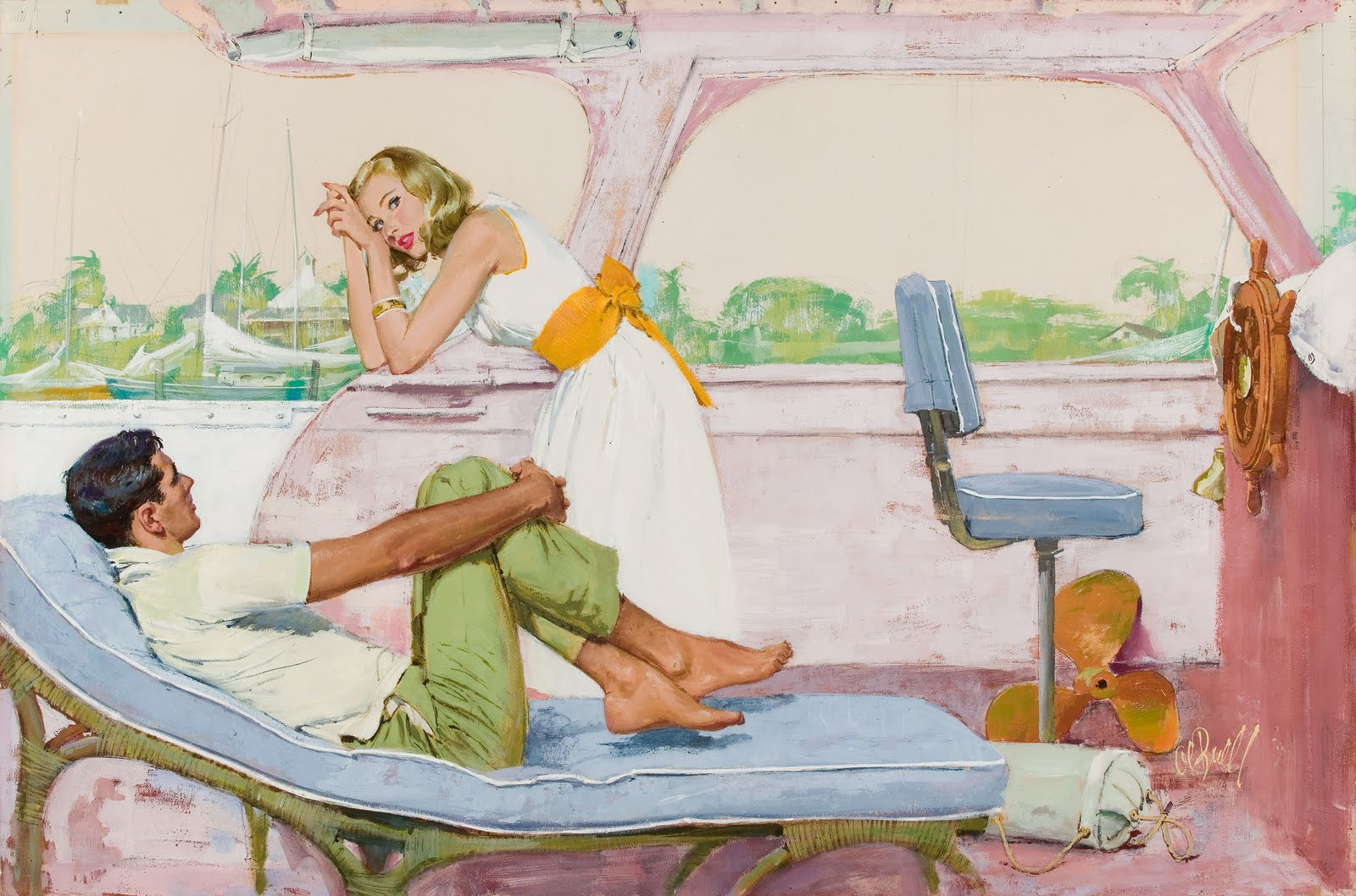 AL BUELL (American, 1910-1996). The Tenth Passenger, Saturday Evening Post illustration, October 7, 1960