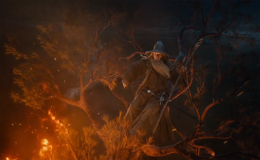 Gandalf on top of a burning tree