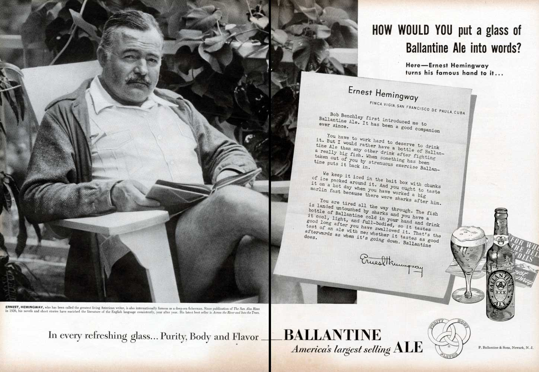 HemingwayBallantineAleAd