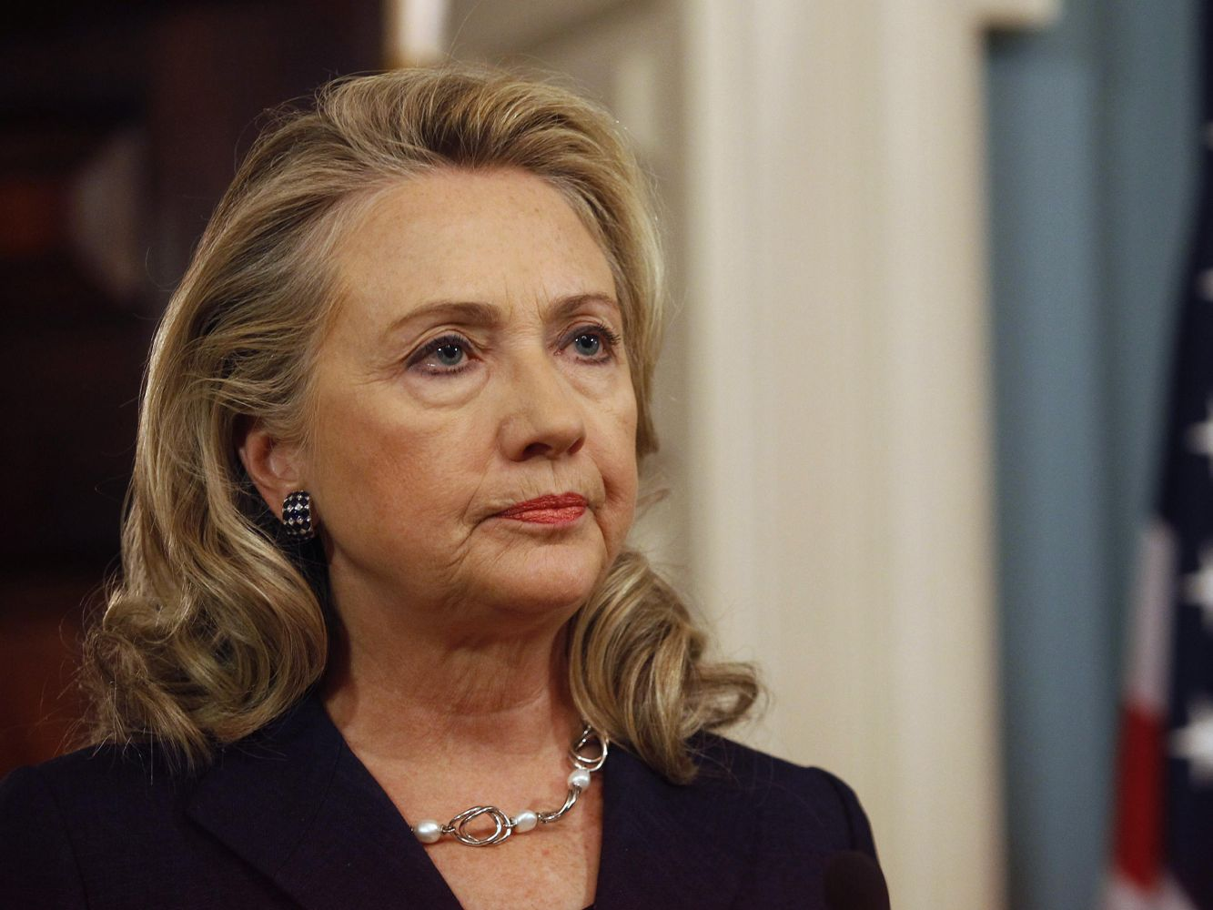 Image: File of U.S. Secretary of State Hillary Clinton delivering remarks at the State Department  in Washington