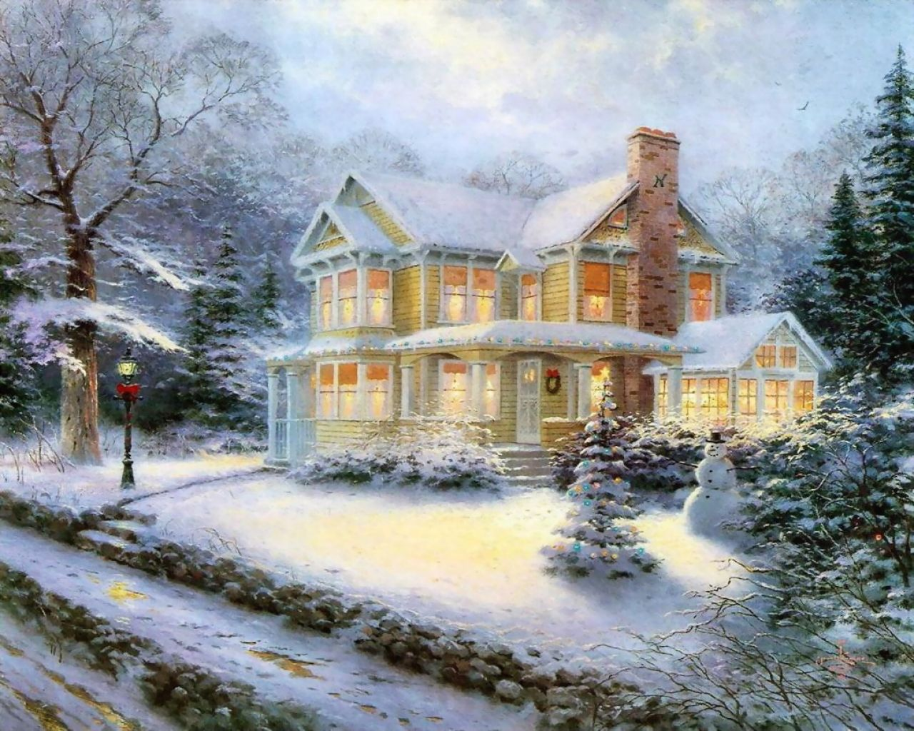 Thomas Kinkade Winter Wallpaper