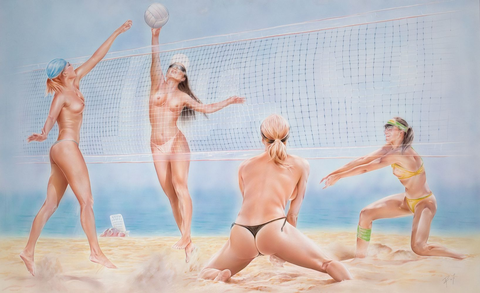 Players beach nude volleyball